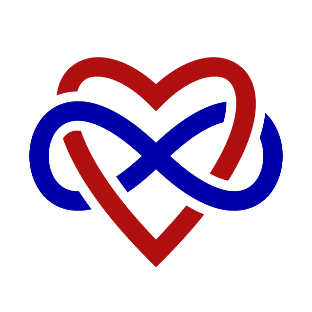 A heart interwoven with infinity. The symbol of polyamory